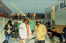 "JAMES HUNT and MIKE HAILWOOD In paddock Silverstone 1974 10x7"" photo"